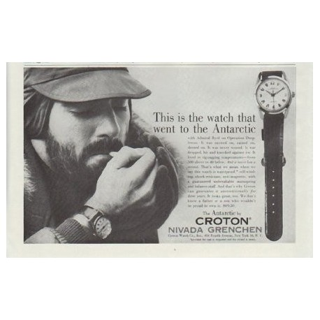 """1957 Croton Ad """"the watch that went to the Antarctic"""""""