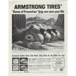 "1957 Armstrong Tires Ad ""Ounce of Prevention"""