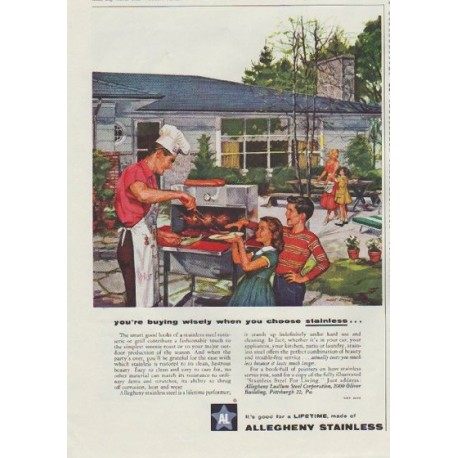 """1957 Allegheny Stainless Ad """"you're buying wisely"""""""