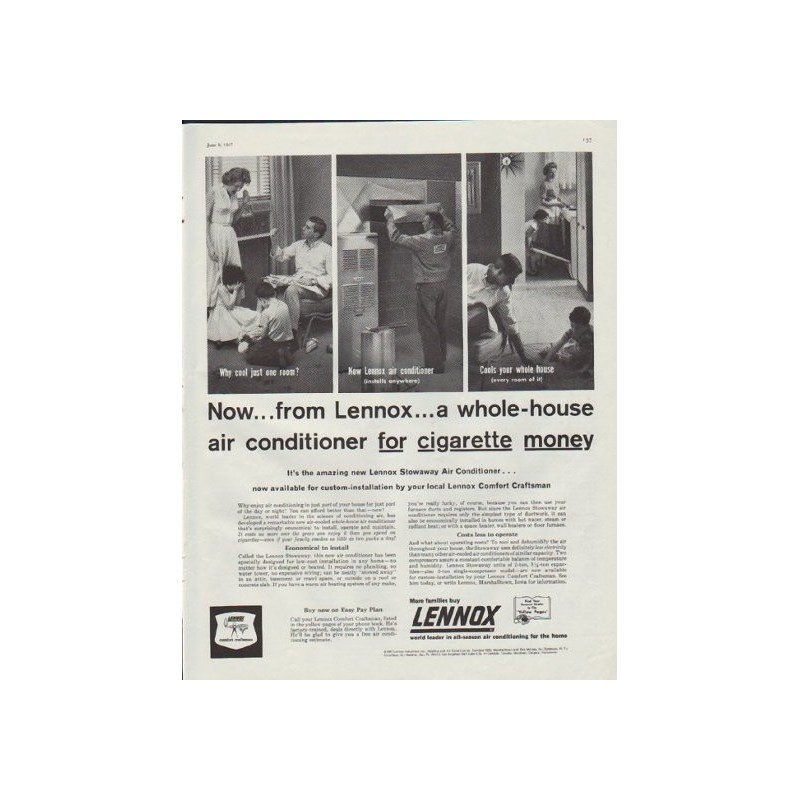 1957 lennox vintage ad a whole house air conditioner. Black Bedroom Furniture Sets. Home Design Ideas