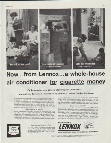 1957 Lennox Vintage Ad Quot A Whole House Air Conditioner Quot