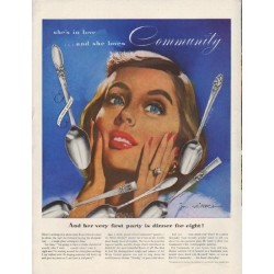 "1952 Community Silverplate Ad ""she's in love"""