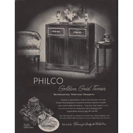 "1952 Philco Television Ad ""Golden Grid Tuner"""