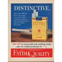 "1952 Fatima Cigarettes Ad ""Distinctive"""