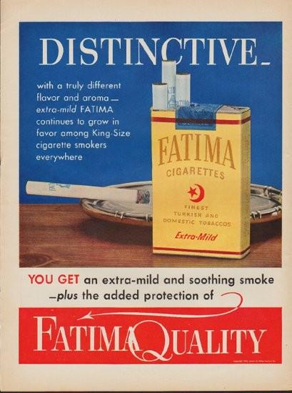 """1952 Fatima Cigarettes Vintage Ad """"Distinctive"""""""