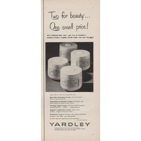 """1952 Yardley Ad """"Two for beauty"""""""