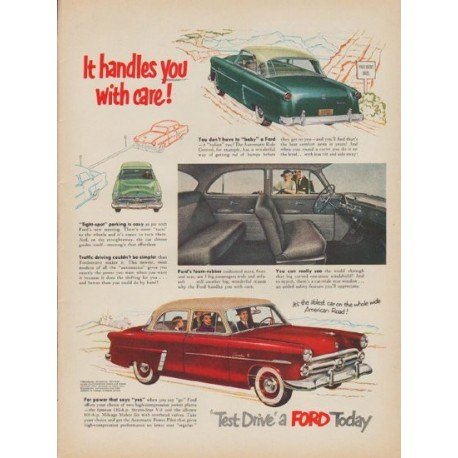 "1952 Ford Ad ""It handles you with care!"""