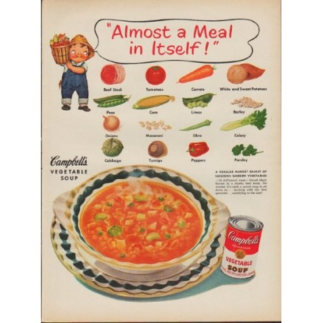 """1952 Campbell's Soup Ad """"Almost a Meal"""""""