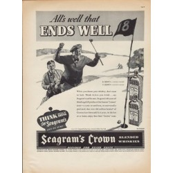 "1937 Seagram's Crown Whiskey Ad ""All's Well"""