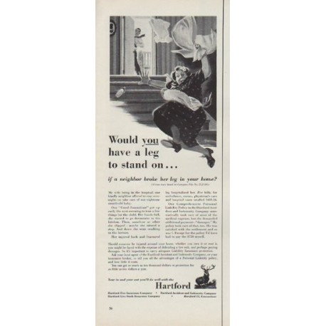 """1952 The Hartford Insurance Ad """"leg to stand on"""""""