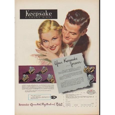 "1952 Keepsake Diamond Rings Ad ""Your Keepsake Forever"""