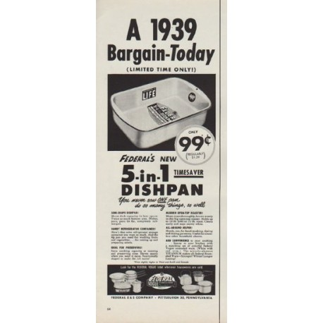 "1952 Federal Enameled Ware Ad ""A 1939 Bargain"""