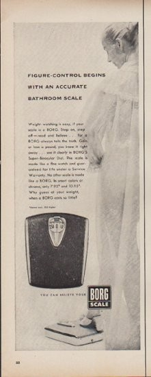 """1952 Borg Scale Vintage Ad """"Accurate Bathroom Scale"""""""