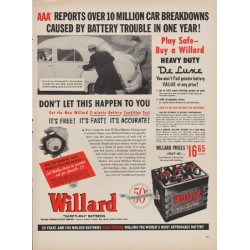 "1952 Willard Batteries Ad ""Over 10 Million Car Breakdowns"""