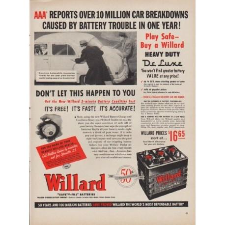 "1952 Willard Batteries Ad ""Over 10 Million Car Breakdowns"""