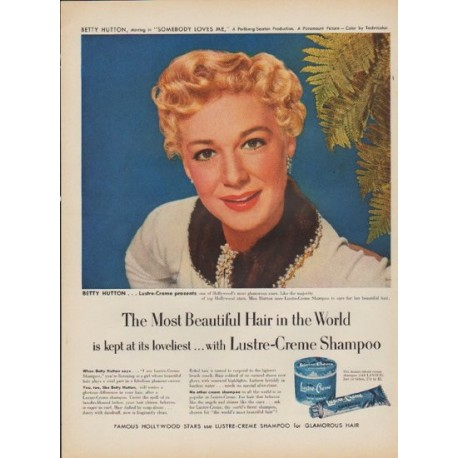 """1952 Lustre-Creme Ad """"The Most Beautiful Hair in the World"""""""