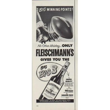 """1952 Fleischmann's Ad """"3 Big Winning Points"""""""