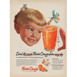 "1952 Florida Citrus Commission Ad ""Drink this much"""
