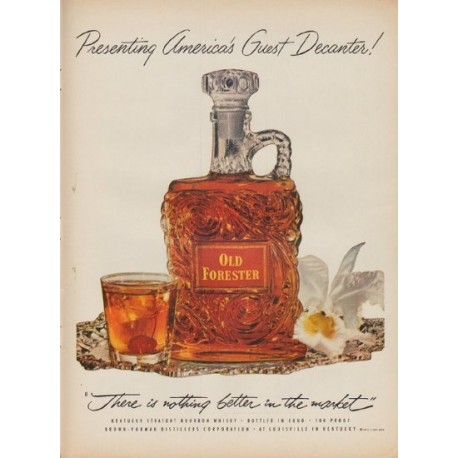 "1952 Old Forester Whisky Ad ""America's Guest Decanter"""