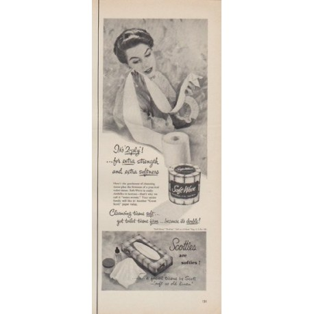 """1952 Scotties Ad """"for extra strength"""""""