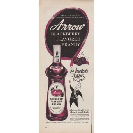 "1952 Arrow Brandy Ad ""America prefers"""