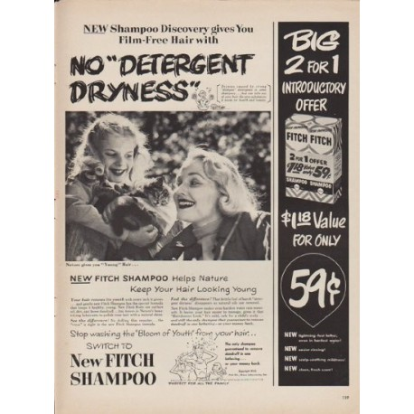 "1952 Fitch Shampoo Ad ""No ""Detergent Dryness"""""