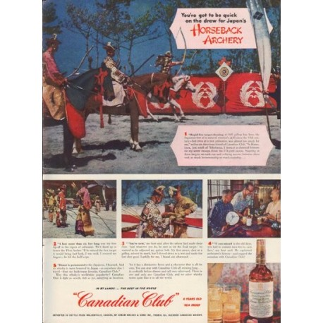 """1952 Canadian Club Ad """"Horseback Archery"""""""