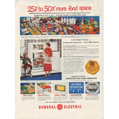 "1951 General Electric Ad ""more food space"""