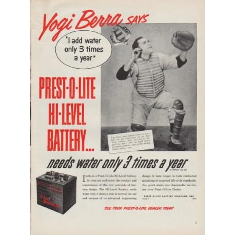 "1951 Prest-O-Lite Ad ""Yogi Berra says"""