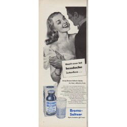 "1951 Bromo-Seltzer Ad ""Don't ever let headache interfere"""