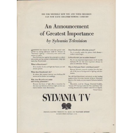 """1951 Sylvania TV Ad """"An Announcement of Greatest Importance"""""""