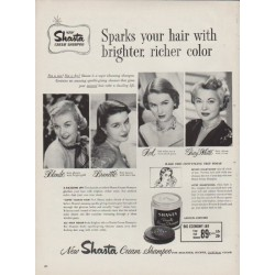 "1951 Shasta Cream Shampoo Ad ""Sparks your hair"""