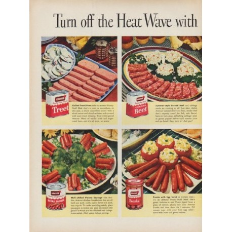 """1951 Armour Meats Ad """"Turn off the Heat Wave"""""""