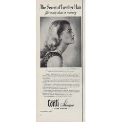 "1951 Conti Shampoo Ad ""Secret of Lovelier Hair"""