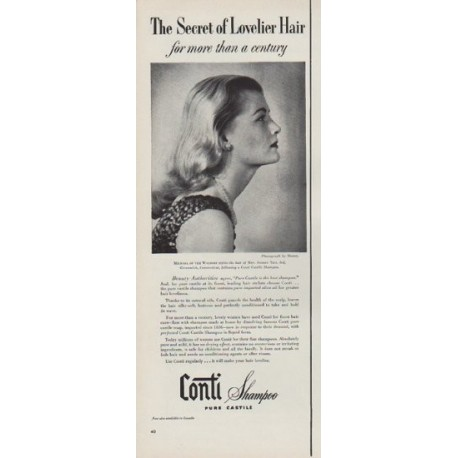 "1951 Conti Shampoo Ad ""Secret of Lovelier Hair"""