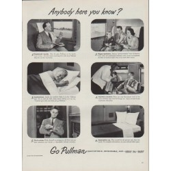 "1951 Pullman Train Cars Ad ""Anybody here you know?"""