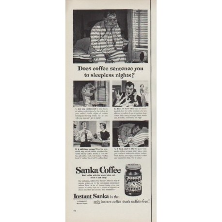 "1951 Sanka Coffee Ad ""sleepness nights"""