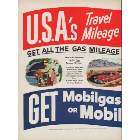 "1951 Mobilgas Ad ""Travel Mileage Favorite"""