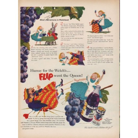 "1951 Welch's Ad ""Flip went the Queen"""