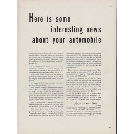 "1951 Macmillan Petroleum Corporation Ad ""interesting news"""