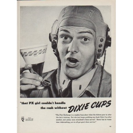 "1951 Dixie Cup Ad ""that PX girl"""