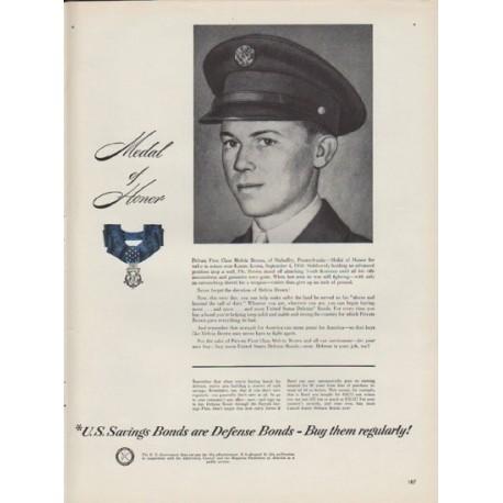 "1951 U.S. Savings Bonds Ad ""Medal of Honor"""