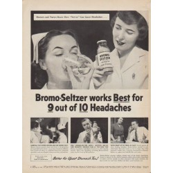 "1953 Bromo-Seltzer Ad ""works Best"""