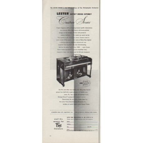 """1953 Lester Piano Ad """"Betsy Ross Spinet"""""""