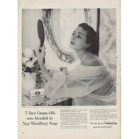"1953 Woodbury Soap Ad ""7 Face Cream Oils"""