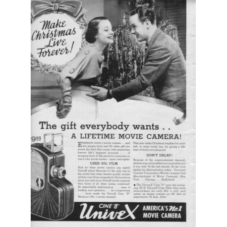 "1937 Univex Movie Camera Ad ""Make Christmas"""