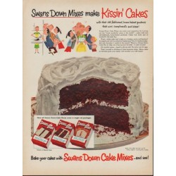"1953 Swans Down Ad ""Kissin' Cakes"""