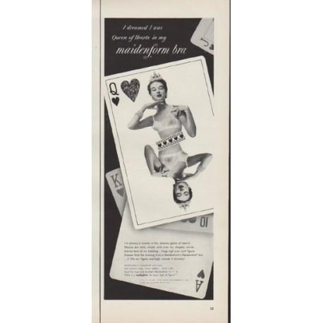 """1953 Maidenform Bra Ad """"Queen of Hearts"""""""