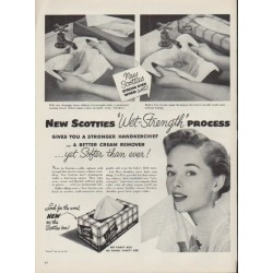 "1953 Scotties Tissues Ad ""Wet-Strength"""
