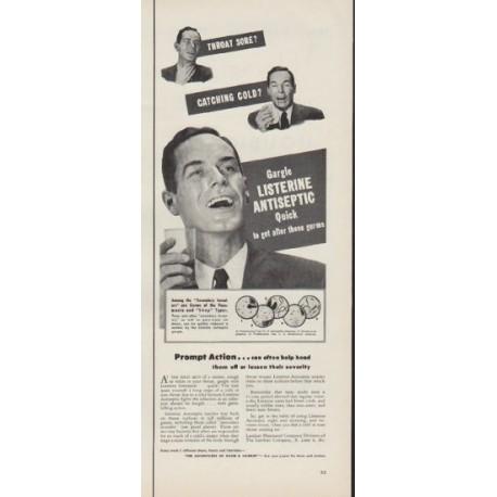 "1953 Listerine Ad ""Throat Sore?"""